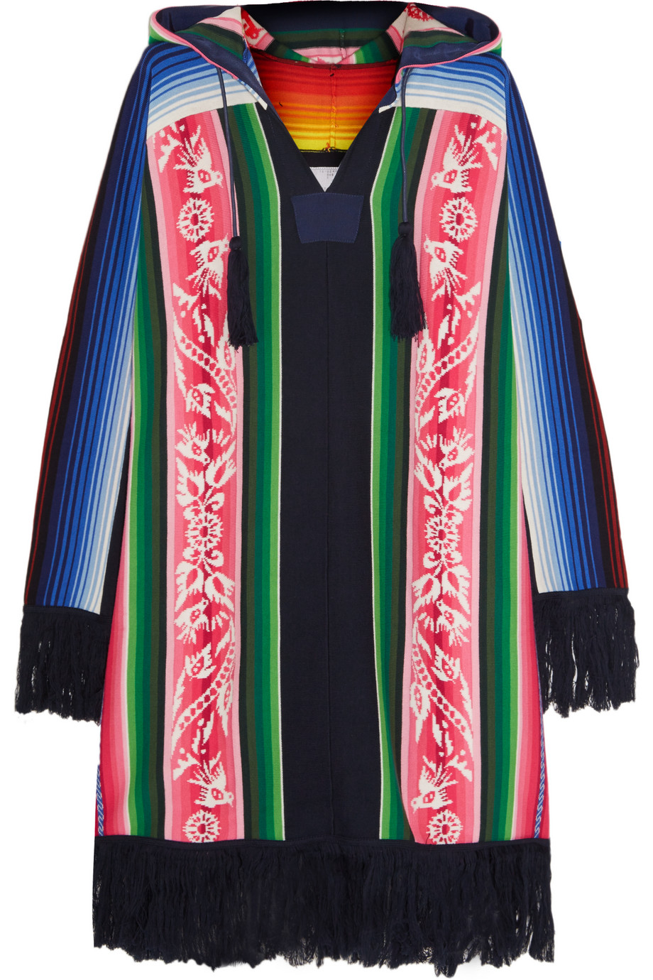 Sacai Fringed Printed Cotton Hooded Poncho, Pink, Women's, Size: 4