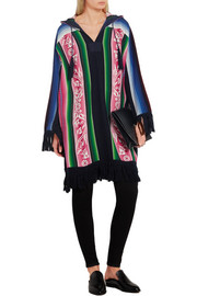 Fringed printed cotton hooded poncho