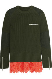 Broderie anglaise-paneled cotton-blend sweater