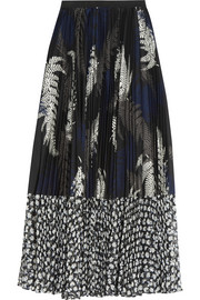 Pleated printed poplin and chiffon skirt