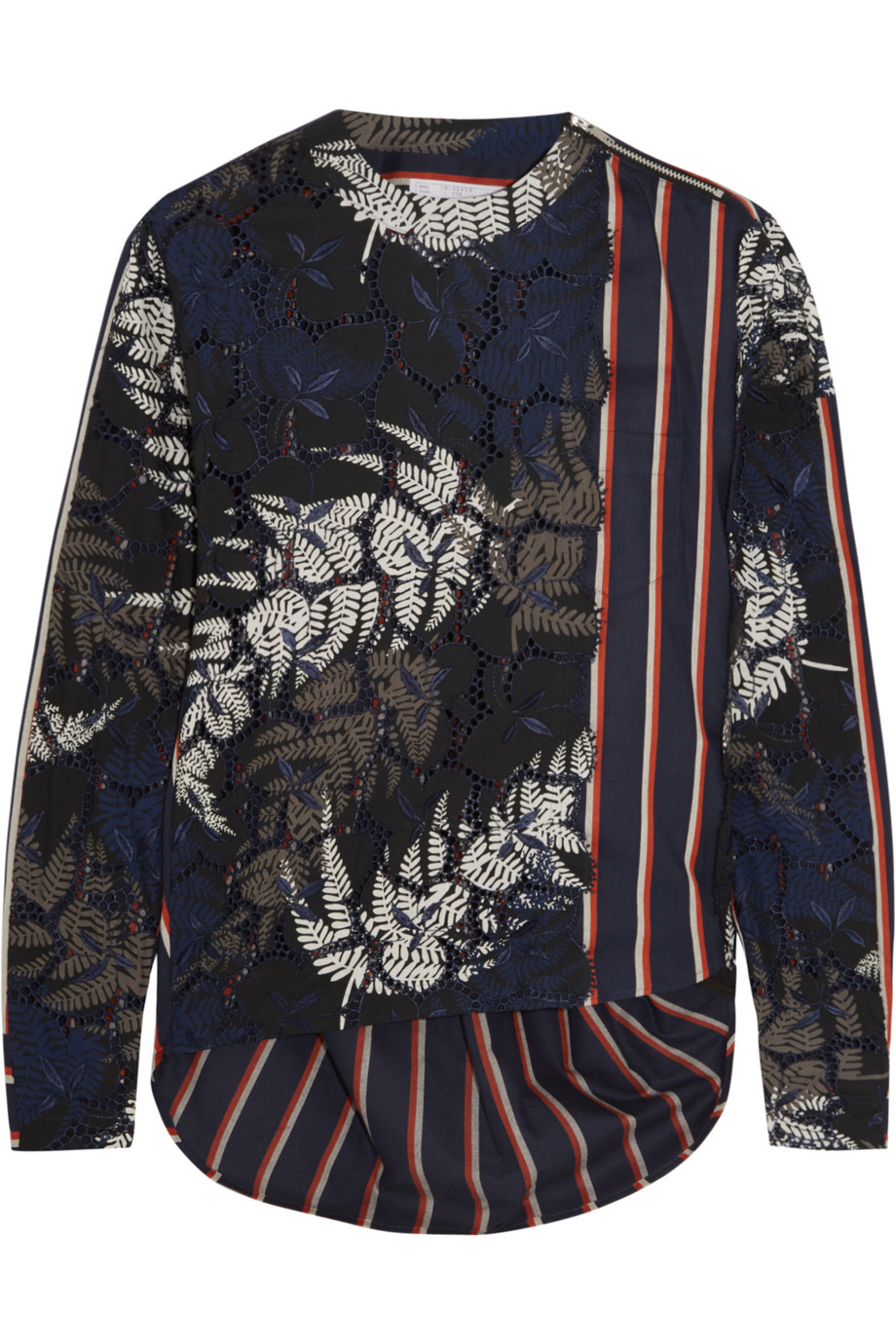 Sacai Guipure Lace and Cotton-Blend Blouse, Midnight Blue, Women's, Size: 1