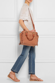 See by Chloé Paige medium fringed nubuck and textured-leather shoulder bag
