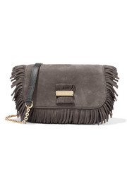 Rosita small fringed suede and textured-leather shoulder bag