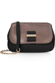 Rosita python-effect and textured-leather shoulder bag
