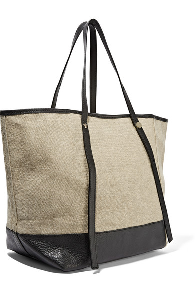 See by Chlo�� | Textured leather-trimmed canvas tote | NET-A-PORTER.COM
