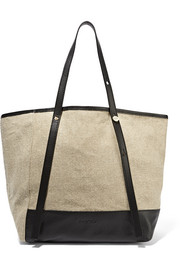 Textured leather-trimmed canvas tote