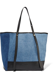See by Chloé Textured leather-trimmed denim tote
