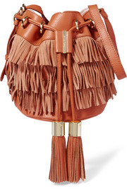Vicki medium fringed textured-leather and nubuck bucket bag