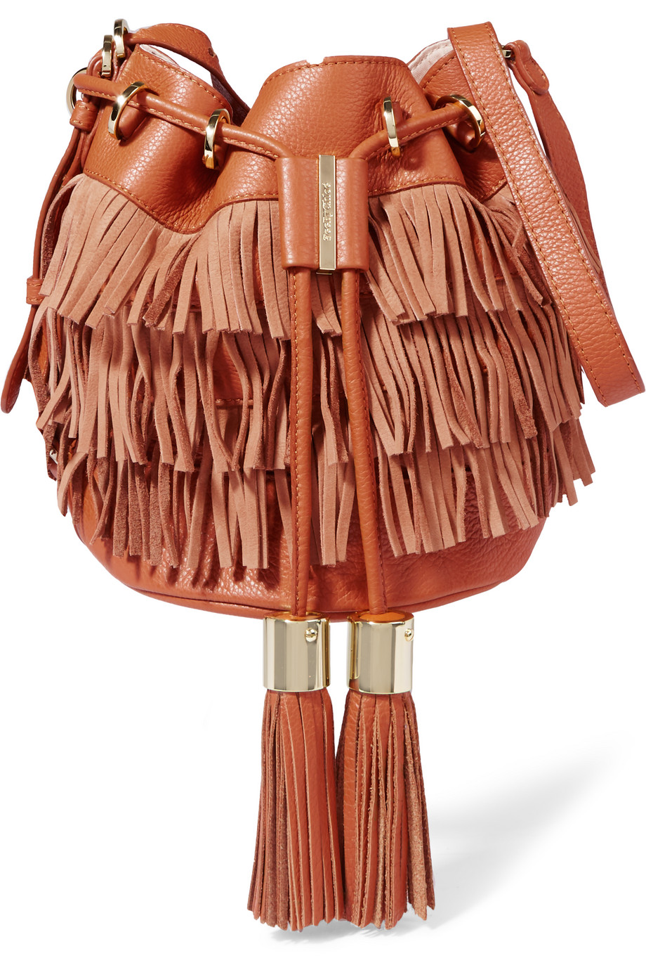 See by Chloé Vicki Medium Fringed Textured-Leather and Nubuck Bucket Bag, Tan, Women's