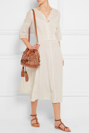 See by Chloé Vicki medium fringed textured-leather and nubuck bucket bag