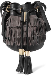 Vicki medium fringed textured-leather and suede bucket bag