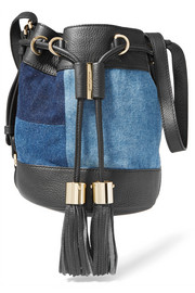 Vicki patchwork denim and textured-leather bucket bag