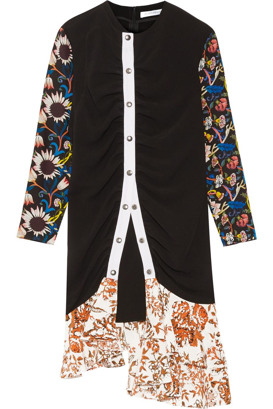 J.W.Anderson Printed Georgette-Paneled Crepe Dress, Black, Women's - Printed, Size: 6