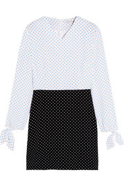 Two-tone polka-dot crepe mini dress