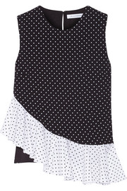 Ruffle-paneled polka-dot crepe top