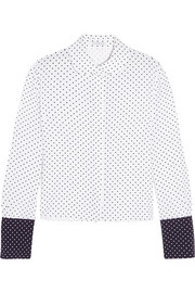 Two-tone polka-dot crepe blouse