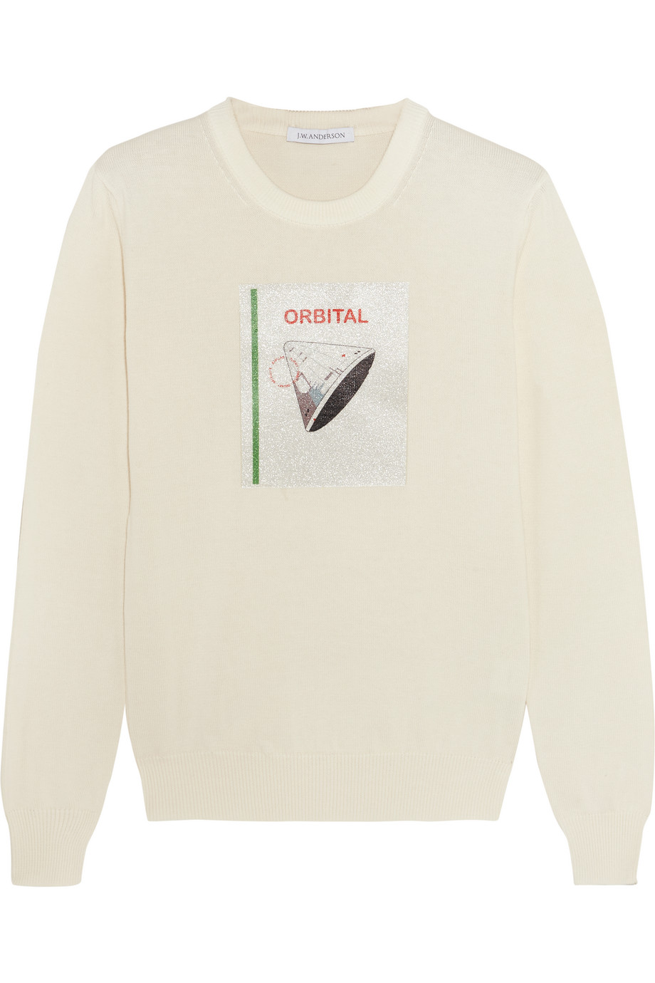 J.W.Anderson Orbital Glittered Printed Cotton Sweater, Cream, Women's, Size: M
