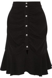 Ruched crepe skirt