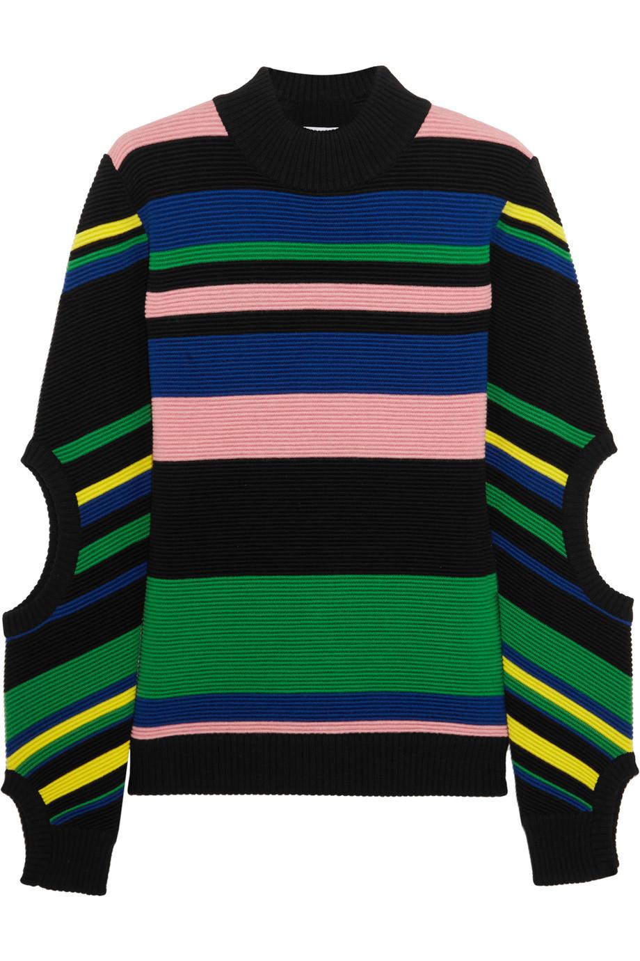 J.W.Anderson Striped Ribbed Merino Wool Turtleneck Sweater, Black/Blue, Women's, Size: XS