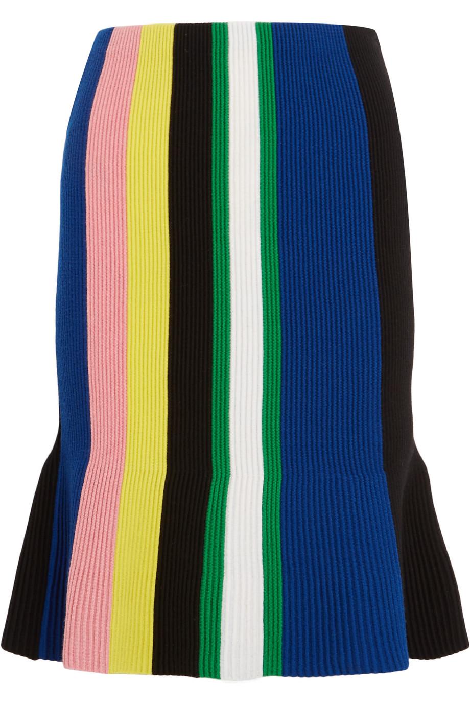 J.W.Anderson Striped Ribbed Merino Wool Skirt, Blue, Women's