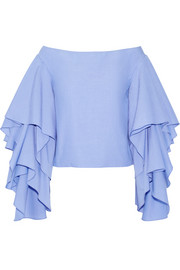 Rosie Assoulin Bidi Bidi Bom Bom off-the-shoulder ruffled cotton-poplin top