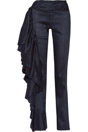 Rosie Assoulin Fiesta ruffled pinstriped stretch linen-blend wide-leg pants