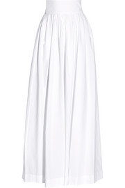 Morning After cutout pleated cotton-poplin maxi skirt