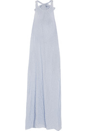 Striped cotton-blend halterneck maxi dress