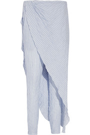 Layered striped cotton-blend tapered pants