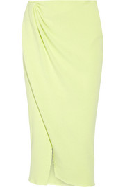 Wrap-effect ribbed stretch-cotton skirt