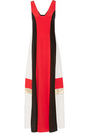 Pythian color-block silk crepe de chine maxi dress