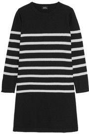 Striped silk sweater dress