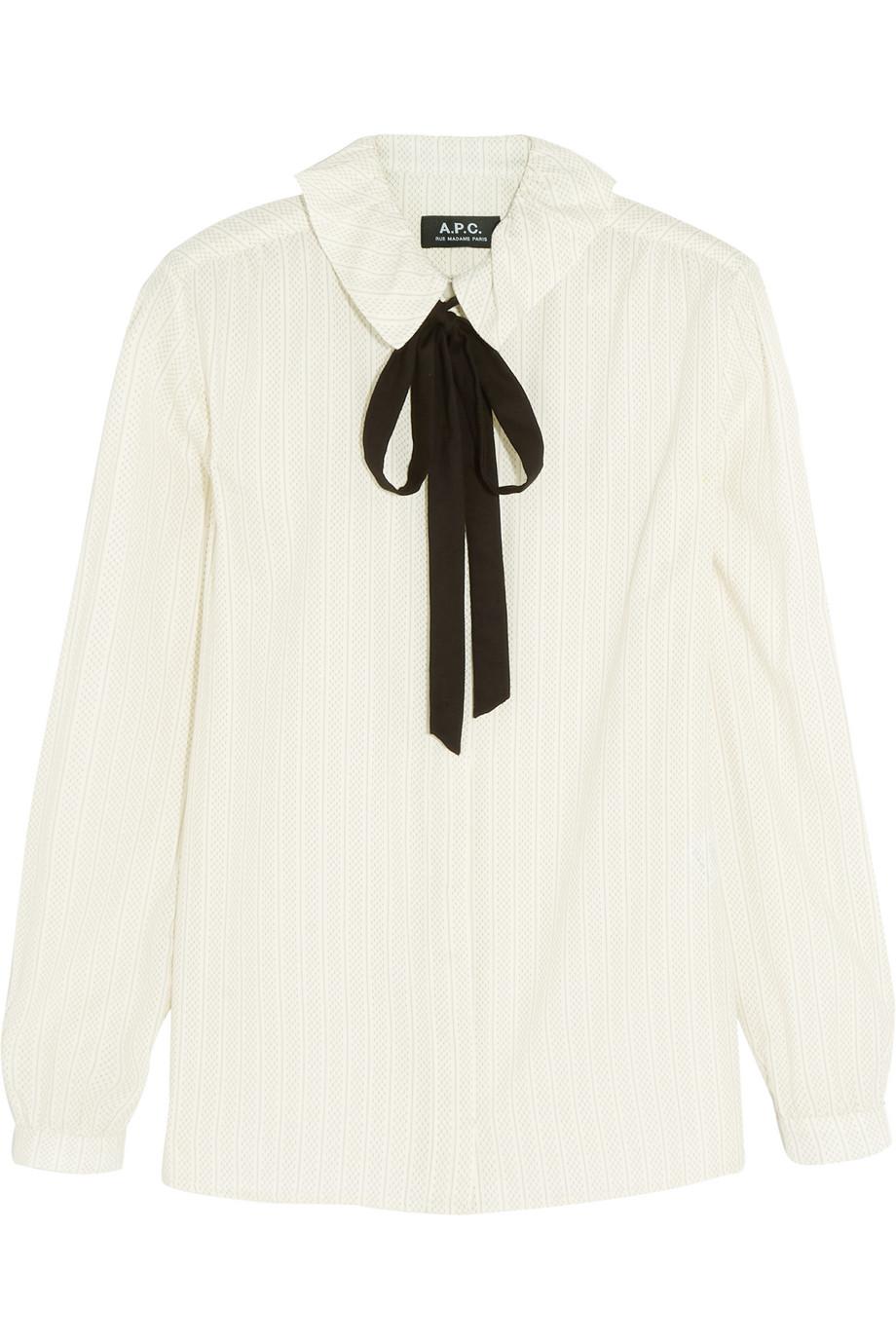 Pussy-Bow Printed Cotton-Crepe Shirt, A.P.C. Atelier De Production Et De Création, Cream, Women's, Size: 34