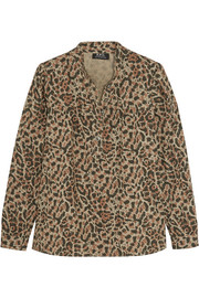 Leopard-print cotton-poplin shirt