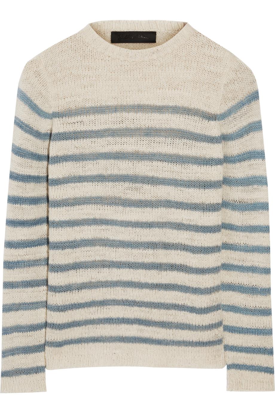 Picasso Striped Cashmere Sweater, The Elder Statesman, Off-White, Women's
