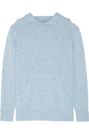 Mélange cashmere hooded sweater