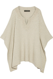 Ribbed cashmere poncho