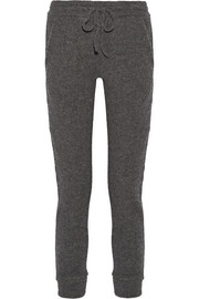 Stretch cashmere-blend track pants