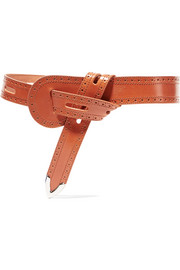 Cutout leather waist belt