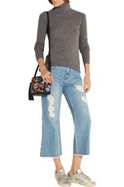 Distressed wide-leg jeans