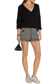 Embroidered tweed shorts
