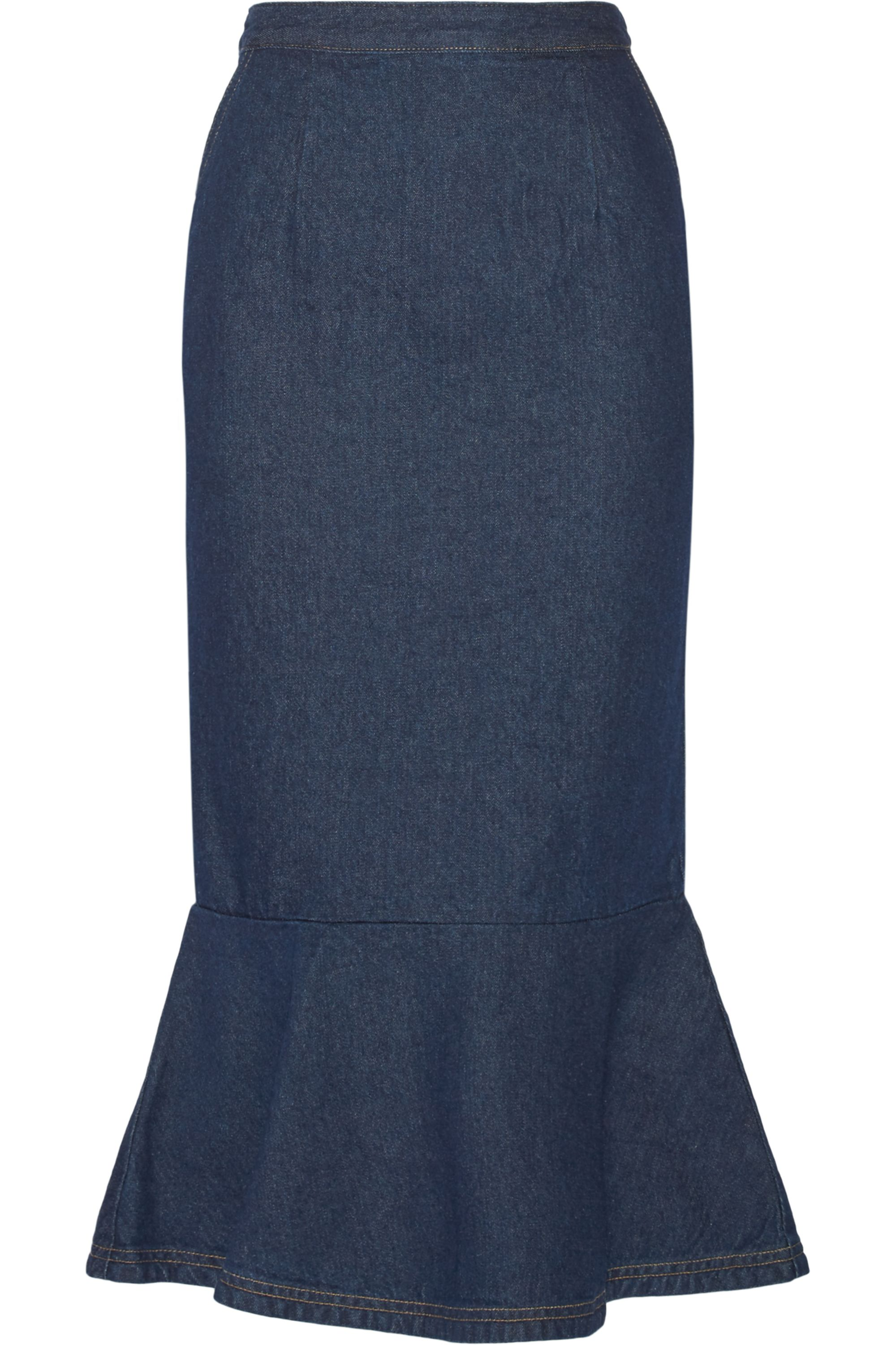 SJYP Ruffled denim midi skirt