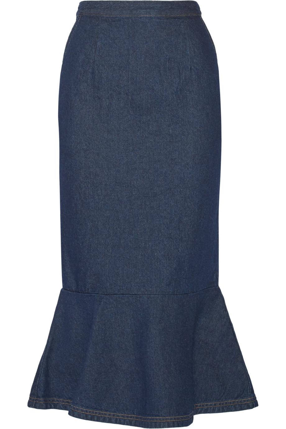 Ruffled Denim Midi Skirt, Steve J & Yoni P, Dark Denim, Women's, Size: L