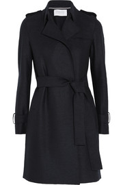 Belted wool-felt trench coat