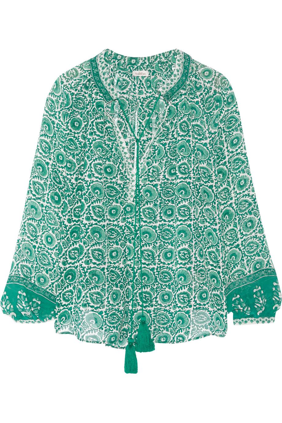 Talitha Indra Printed Silk-Chiffon Blouse, Jade, Women's, Size: M
