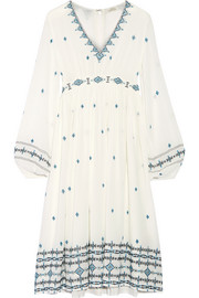 Reema embroidered silk-crepe dress