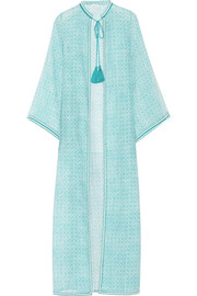 Fatima embroidered printed cotton and silk-blend kaftan
