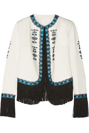 Zoe fringed embroidered cotton-twill jacket