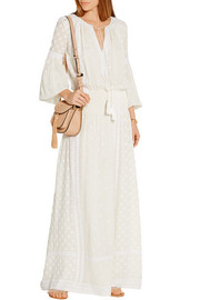 Fiona embroidered silk-crepe maxi dress