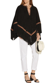 Embroidered suede cape